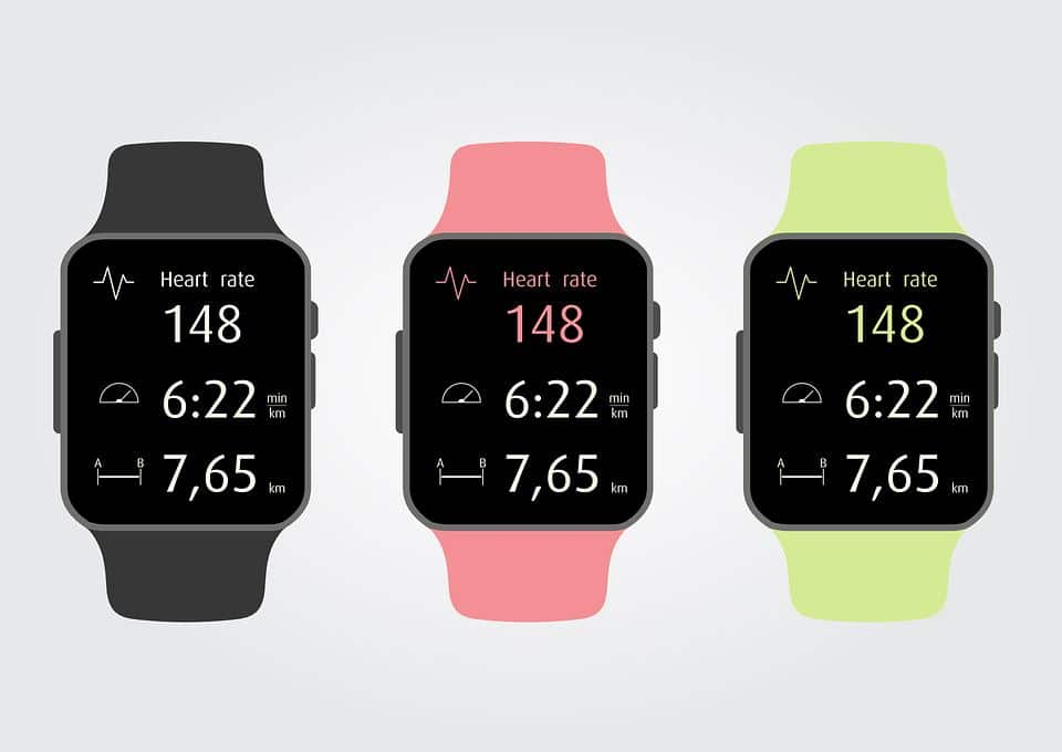 Fitness watch for running showing heart rate distance and time taken