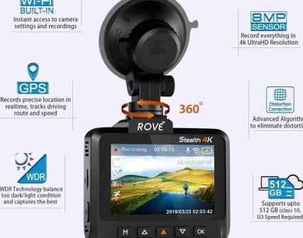 Rove Stealth 4K WiFi Car Dash Cam