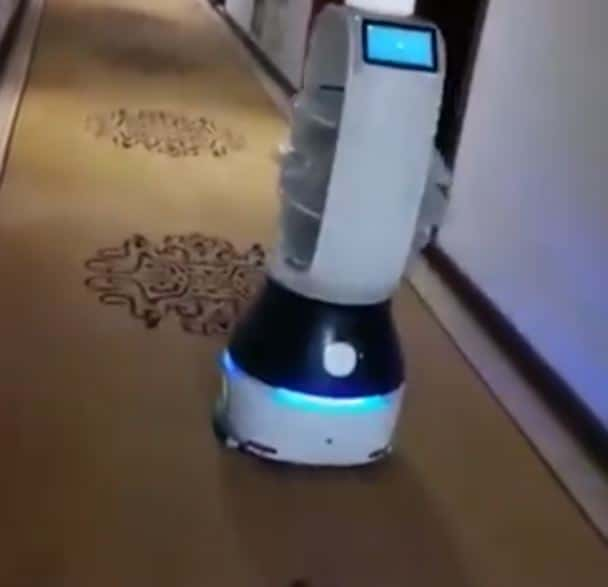Little Peanut the Corona Virus Robot being deployed to deliver food.