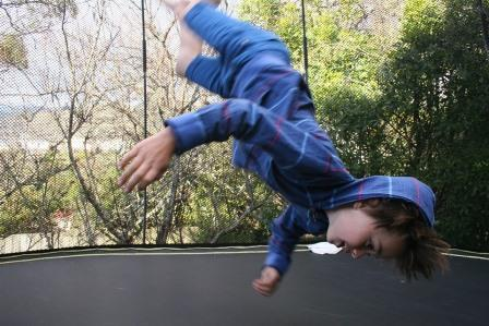 Kids doing a Trampoline jumps