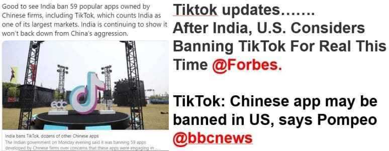 tiktok banned in US and India 2020