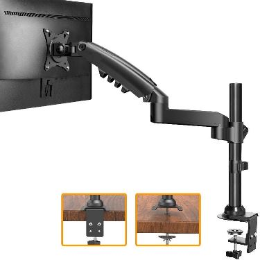 "ErGear 17""-34"" Single Monitor Desk Mount Stand Kit, Full Motion Gas Spring Arms with Clamp On/Grommet Mounting Base, Holds Computer Screen up to 19.84 lbs/Arm with 75/100mm VESA, Black by Ergear"