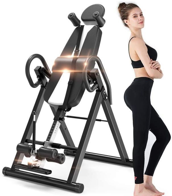 Fitness Inversion Tables Folding Fitness Equipment Adjustable Headrest Ankle Holder Back Pain Relief Exercise Tools