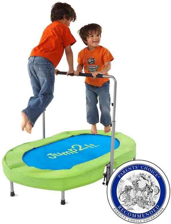 Jump2It 2 Person Portable Trampoline with Adjustable Center Handle and Protective Frame Cover