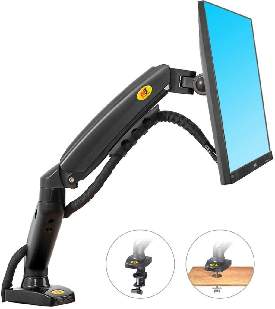 NB North Bayou Monitor Desk Mount Stand Full Motion Swivel Monitor Arm with Gas Spring for 17-27''Monitors(Within 4.4lbs to 19.8lbs) Computer Monitor Stand F80 by NB North Bayou