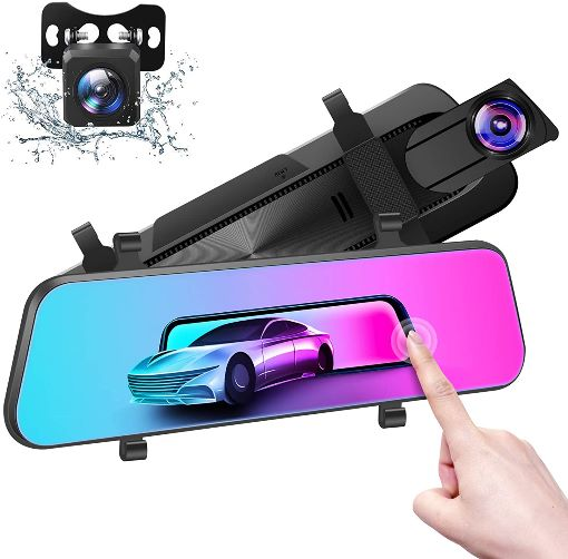 DMYCO Backup Camera Car and Mirror Dash Cam with a 12'' IPS Full Touch Screen