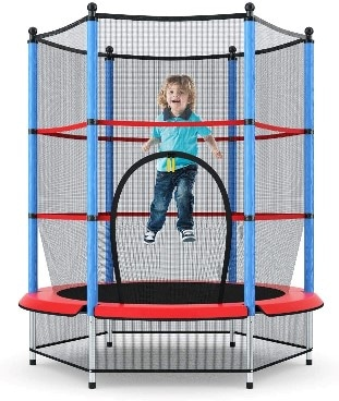 Giantex Kids Trampoline with Safety Enclosure Net & Spring Pad