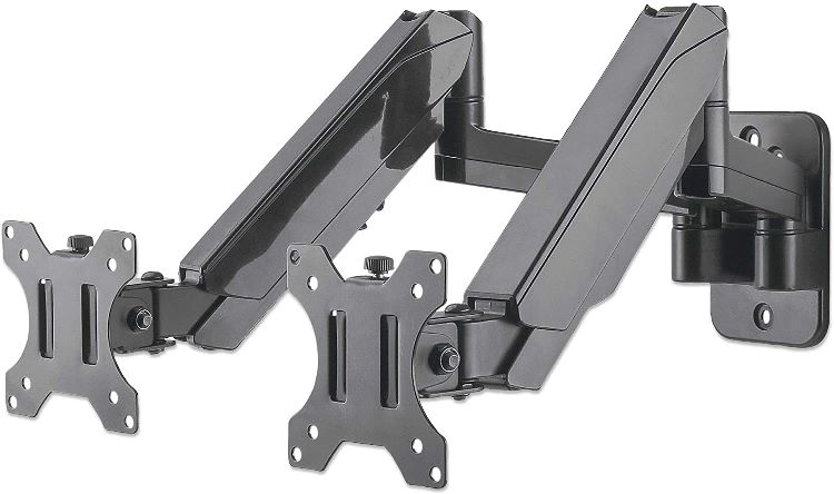 Universal Gas Spring Dual Monitor Wall Mount Two Gas-Spring Jointed Arms