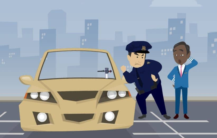 Illustration of dash camera in personals car by a traffic police
