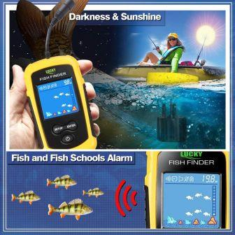 LUCKY Portable Sonar Handheld Wireless Fishing Finder For Kayak with Transducer