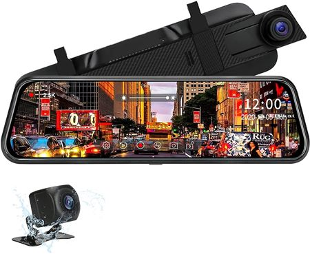 """TOGUARD Backup Camera AND Night Vision Waterproof 1080P Rear Camera WITH 10"""" Mirror Dash Cam, Dash Cam Front and Rear"""